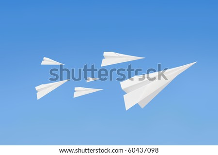 Paperplanes flying
