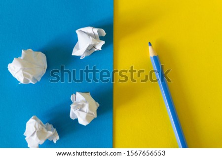 Papers and pencil. ideas and creativity concept