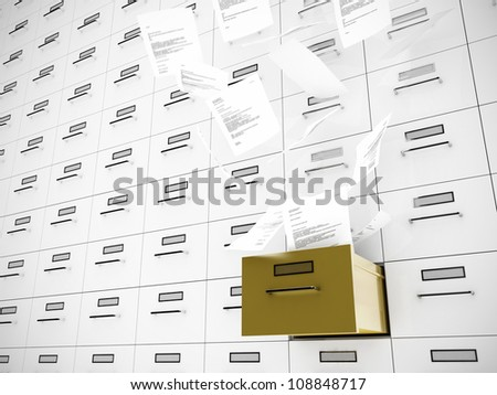 Papers fly out of drawer