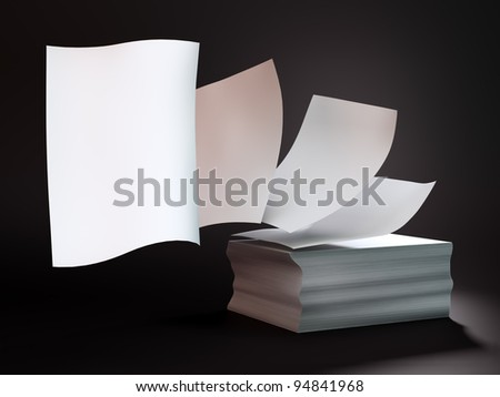 Papers flying off a stack of documents
