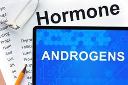 Papers with hormones list and tablet  with words  androgens.