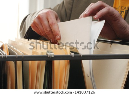 Paperwork in a filing cabinet