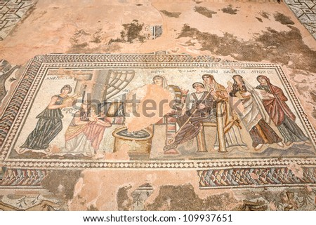 PAPHOS, CYPRUS - JULY 24: Ancient Greek mosaic in Paphos Archaeological Park on July 24, 2012 in Paphos, Cyprus. Age of mosaic is circa 3rd century AD, mosaics are included in UNESCO World Heritage List.