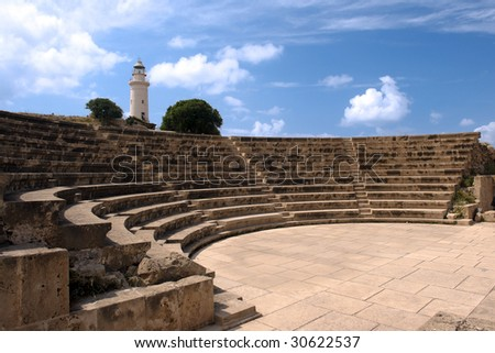 paphos small greek amphitheater in archaeological site in cyprus