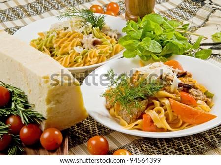 Pappardelle and fusilli pasta dish