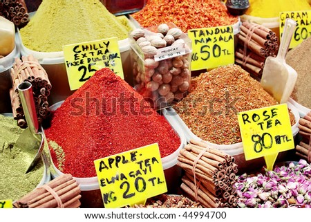 Paprika heap on display at spice market - stock photo