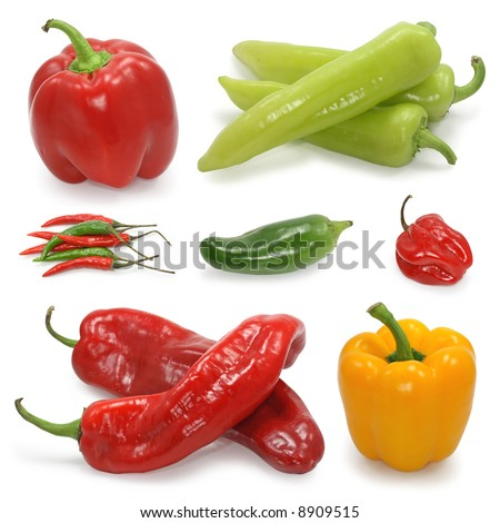 paprika pepper collection on white