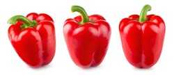 Paprika. Pepper red. Bell pepper isolated. Sweet red peppers. With clipping path. Full depth of field.