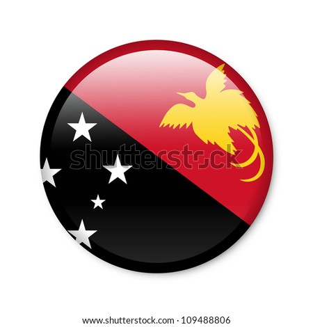 Papua New Guinea - glossy button with flag