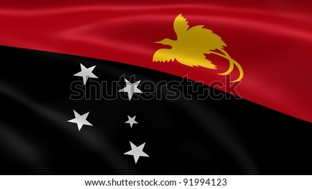 Papua New Guinean flag in the wind. Part of a series.
