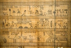 Papyrus of old ancient egyptian book of dead netherworld death