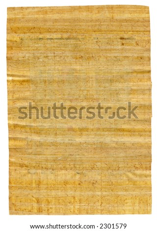 Papyrus sheet of paper on white background