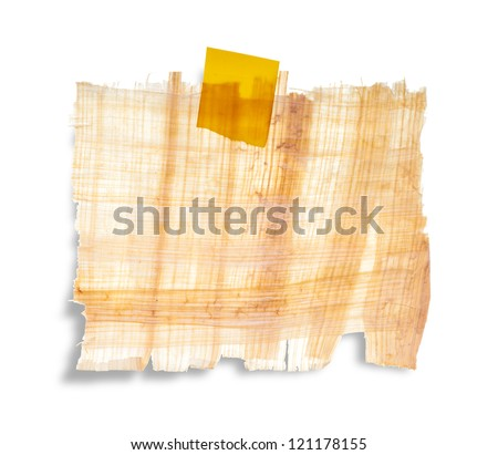 papyrus texture or label with sticky tape isolation on white background