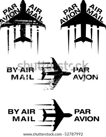 Par Avion or air mail rubber stamps. Grunge and clean illustration. - stock photo