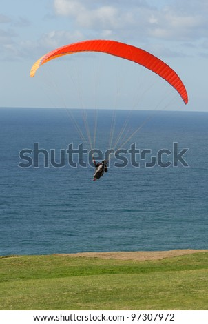Para-glider taking off from San Diego glider port in California - stock photo