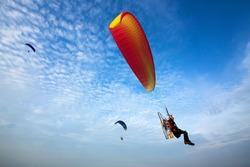 Para-motor flying in the sky