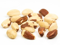 Para nuts, isolated  on white background. Top view. brazilian nut