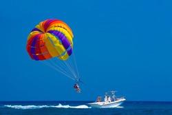 Para sailing off the coast in Kolymbia, Rhodes, Greece