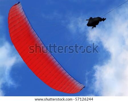 para-sailing training on the blue sky background