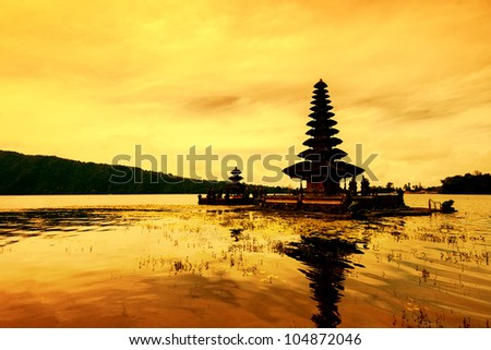 Para Ulun Danu Temple also known as Lake Bratan Temple. The temple located in Bedugul in the central highlands of Bali. The Temple is devoted to the goddess of the lake Ida Betara Dewi Ulun Danu.