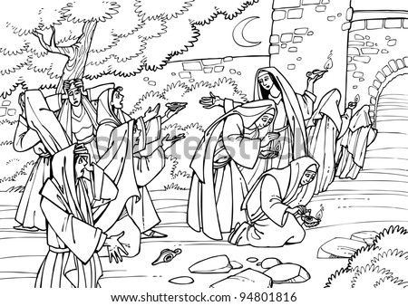 Wedding banquet colouring pages for Parable of the wedding feast coloring page