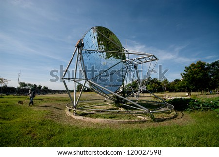 Parabolic dish solar energy collector.