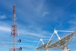 Parabolic satellite dish space technology receivers antenna of the radio observatory and telecommunication towers.