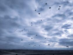 Parachute Jump military skydiving land battlefield cold autumn soldiers Parachute Jump military skydiving ukrainian land battlefield cold autumn soldiers sky clouds parachute jump