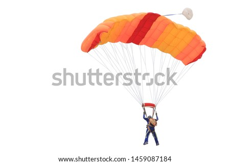 Parachute orange color isolated on white background. This has clipping path. Stock fotó ©