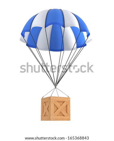 Parachute package flying on white