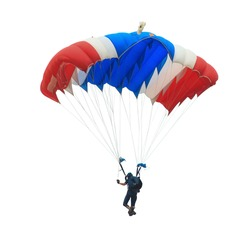 Parachute red white blue color isolated on white background. This has clipping path.