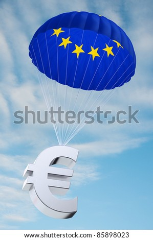 Parachute with the european flag on it holding a Euro currency symbol - concept for security funds for debt ridden countries in Europe