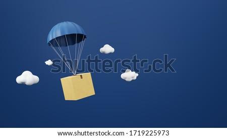 Parachuting delivery objects. Parachute 3D concept design. Blue background. Cloudy, Transportation, air shipping, 3D model concept. Stock fotó ©