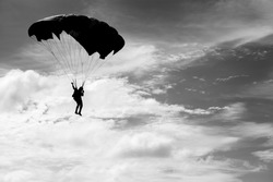 Parachuting in black and white