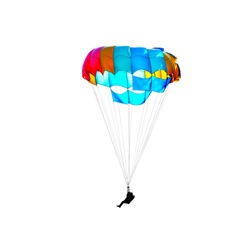Parachutist on a multi-colored parachute isolated on white background