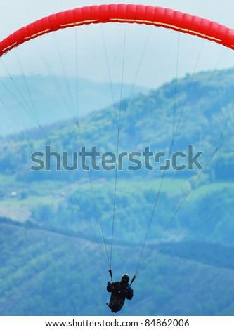 Parachutist on the air