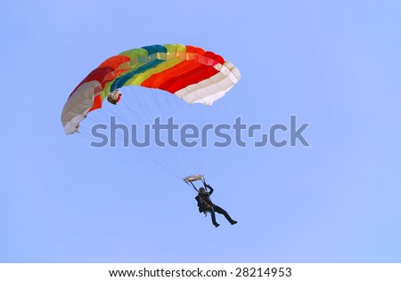 Parachutist pulling right handle and turning right.