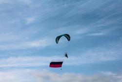 Parachutists on avia show in Siberia