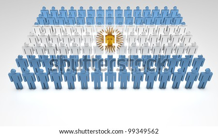 Parade of 3d people forming a top view of Argentinian flag. With copyspace.