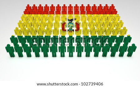 Parade of 3d people forming a top view of Bolivian flag. With copyspace.