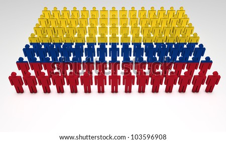 Parade of 3d people forming a top view of Colombian flag. With copyspace.