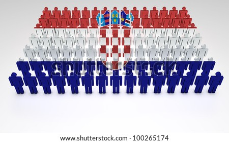 Parade of 3d people forming a top view of Croatian flag. With copyspace.