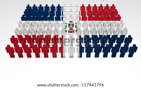 Parade of 3d people forming a top view of Dominican Republic flag. With copyspace.