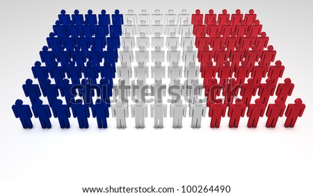 Parade of 3d people forming a top view of French flag. With copyspace.