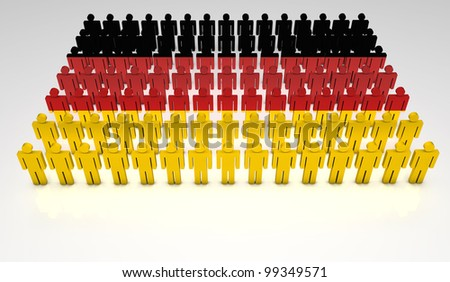 Parade of 3d people forming a top view of German flag. With copyspace.