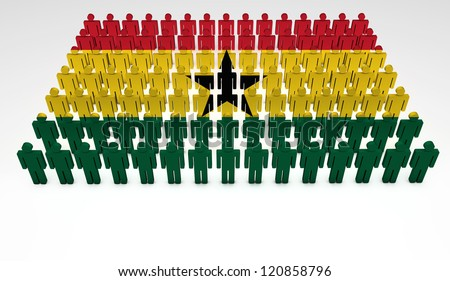 Parade of 3d people forming a top view of Ghana flag. With copyspace.