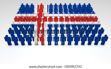 Parade of 3d people forming a top view of Icelandic flag. With copyspace.