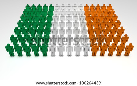 Parade of 3d people forming a top view of Irish flag. With copyspace.