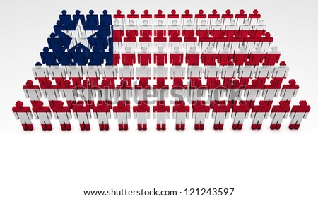Parade of 3d people forming a top view of Liberia flag. With copyspace.