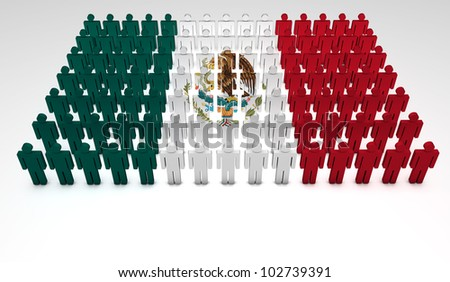 Parade of 3d people forming a top view of Mexican flag. With copyspace.